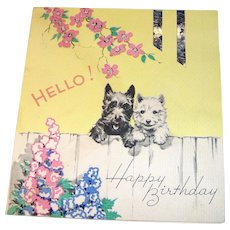 Vintage 1930s Birthday Card with Scottie dogs