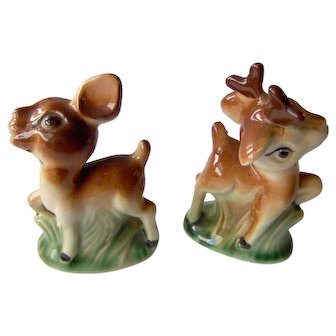 Vintage Deer Salt and Pepper Shakers