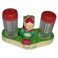Vintage Elf Salt and Pepper Shakers stand with glass shakers