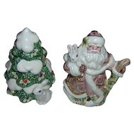Vintage Santa and Christmas Tree Salt and Pepper Shakers
