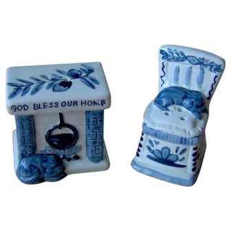 Vintage Blue and White Salt and Pepper Shakers