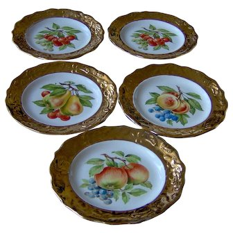 Pretty Gold rimmed fruit plates