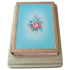 Vintage metal enameled note pad holder