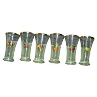 Vintage Glass Set with Fruit decoration