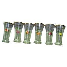 Vintage Glass Set with Fruit decoration