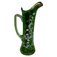 Vintage Green Glass Ewer