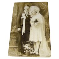 Vintage Real Photo Postcard of Bride and Groom