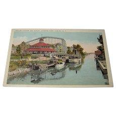 Vintage postcard of a Roller Coaster at Lakeside Park
