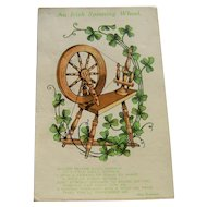 Vintage Postcard An Irish Spinning Wheel