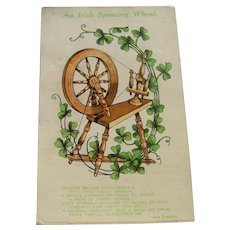 Vintage Postcard An Irish Spinning Wheel