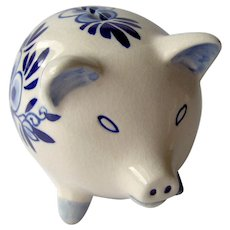 Vintage Pig Bank in Delft Blue