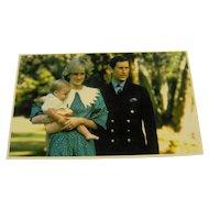 Vintage Postcard Princess Dianna Prince Charles Prince William