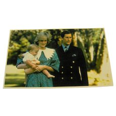 Vintage Postcard Princess Dianna Prince Charles Prince William
