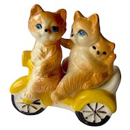 Vintage Salt and Pepper Shakers Cats on a Motorcycle