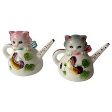 Vintage PY Salt and Pepper Shakers Cats in Watering Cans