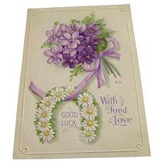 Vintage Postcard With Fond Love
