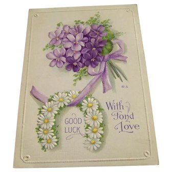Vintage Postcard With Fond Love