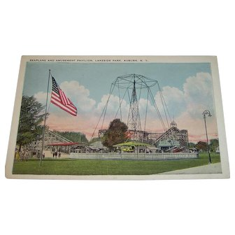 Vintage Postcard Seaplane and Amusement Pavilion, Lakeside Park, Auburn, N.Y.