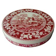 Vintage Carr Biscuit Tin with Red Toile Design
