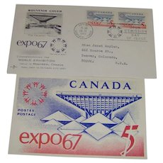 Postcard and Souvenir Cover of Expo67 April 28 1967