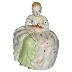 Half Doll Powder Jar Hand Painted