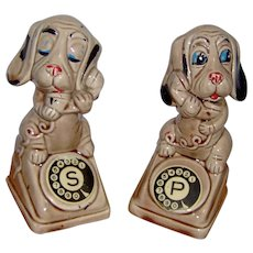 Salt and Pepper Set of Dogs Talking On Phones