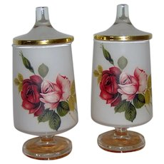 Pair of Frosted White Glass Apothecary Jars