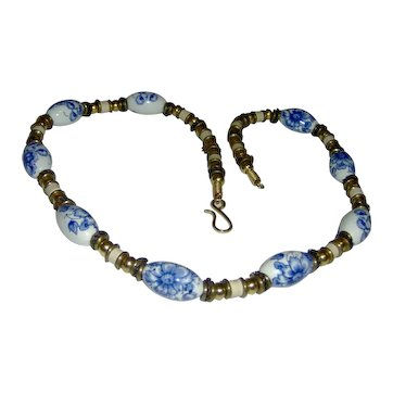 Necklace with White and Blue Floral Beads