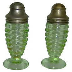 Green Depression Glass Salt and Pepper Shakers