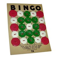 Buttons on a Vintage Bingo Card