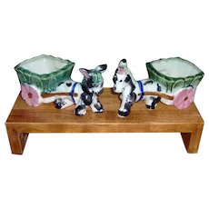 Adorable pair of Donkey and Cart Planters