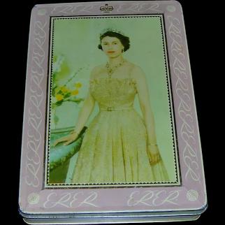 Queen Elizabeth II biscuit tin