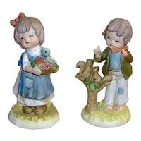 Lefton China Girl and Boy Figurines