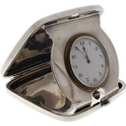 Art Deco Sterling Silver Concord 8 Day Travel Clock By Gorham Engraved Case