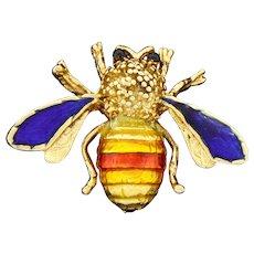Vintage Van Cleef & Arpels 18k Yellow Gold Enamel Bug Bee Insect Pin Brooch Bee My Honey?!