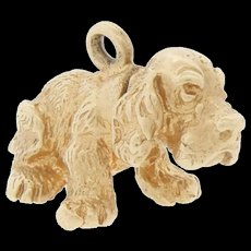 Vintage 14k Gold Heavy Cocker Spaniel Puppy Dog Charm For Bracelet Movable Head