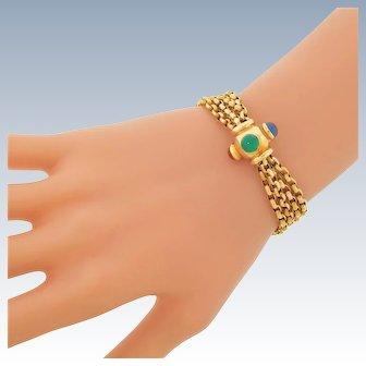 Vintage 14k Yellow Gold 4 Strand Sputnik Gemstone Cabochon Bracelet Impressive 19.4g