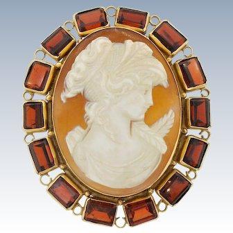 Vintage Large 14k Gold Garnet Cameo Pin Brooch Pendant Gemstone XL 24 Grams