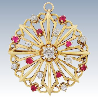 Vintage 14K Gold Mine Cut Diamond Snowflake Pendant Brooch Combo 0.94CT Of Diamonds!