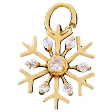 Vintage 14k Gold Diamond Snowflake Charm Well Made Quality Piece
