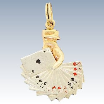 Vintage 14K Yellow Gold Enamel Poker Casino Playing Cards Hand Charm