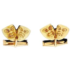 Vintage 14K Yellow Gold Comedy Tragedy Figural Theater Mask Cufflinks Figural