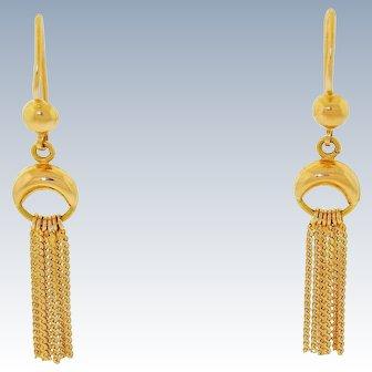 """Vintage 18k 750 Yellow gold Half Moon Drop Dangle Tassel Earrings Pierced Ears 1.95"""" Long"""