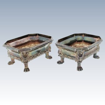 Antique Pair of ODIOT French Silver First Standard Master Salts