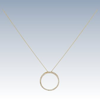 Vintage 14k Gold Diamond Circle Of Life Pendant W Necklace Dainty Classy Piece