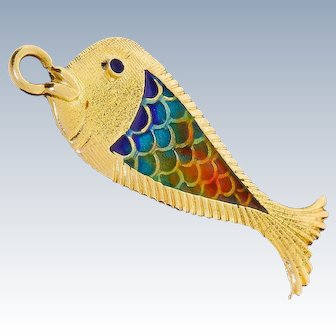 Vintage 18k Solid Gold Enamel Fish Pendant For Necklace Stunning Well Made