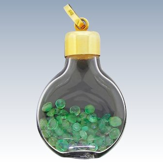 14k Yellow Gold Bottle Pendant With Over 50 Real Emeralds