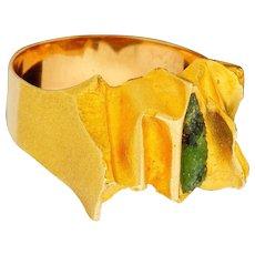 Vintage Bjorn Weckstrom Lapponia 1973 14k Brutalist Ring with Green Tourmaline Sz 10