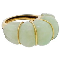 Vintage 14k Gold Jade Jadeite Halo Shrimp Cocktail Ring Large 17.7G Size 7.75 to 8