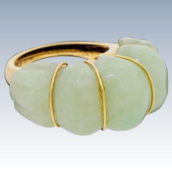 Vintage 14k Gold Jade Jadeite Halo Shrimp Cocktail Ring Large 17.7G Size 7.75 to 8